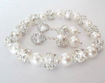Conjunto de joyería de la perla, pulsera de perlas y pendientes conjunto, conjunto de joyería de perlas de Swarovski, plata puestos, sistema de la joyería de novias, conjunto de joyería de la boda