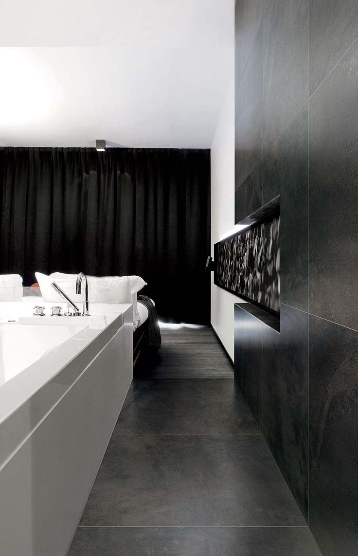 Black metal style wall and floor #black #floor #metal #bathroom #tiles