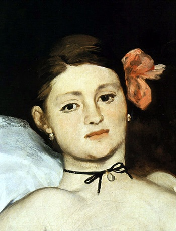 MANET - Olympia - détail de son pendentif choker goals. Too bad she was considered a prostitute.
