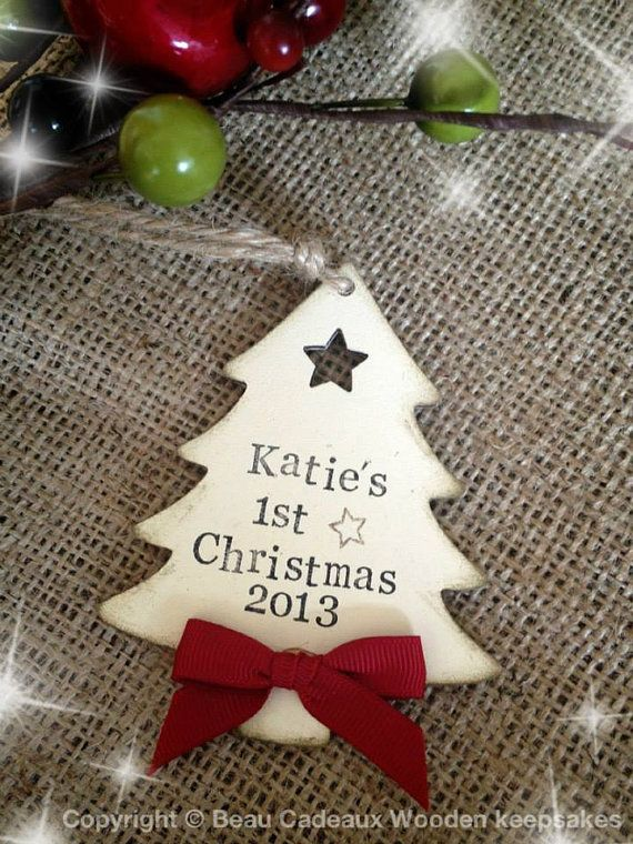 Personalised Wooden Babys First Christmas Tree by BeauCadeauxGifts, £4.50