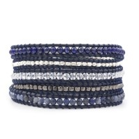 CHAN LUU Sodalite Mix Wrap Bracelet on Dark Blue Leather