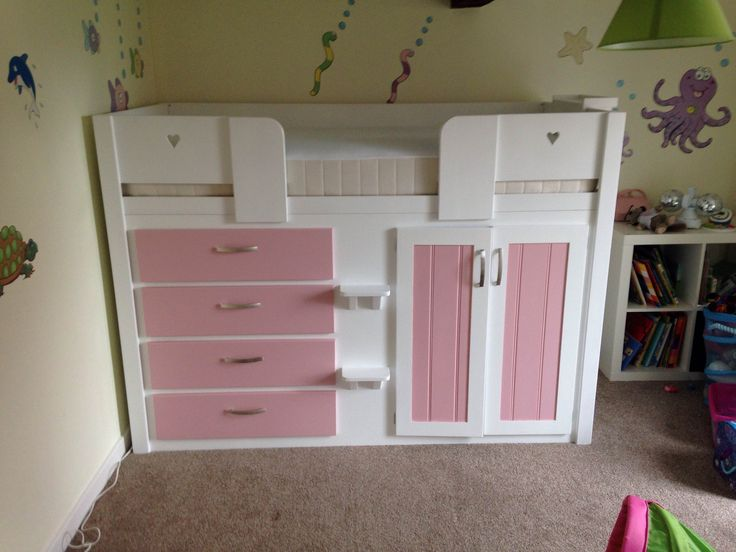 4 Drawer cabin bed in white and princess pink. This is the perfect bed for any girls room, not only is it made from solid natural woods it also looks good! Storage space is throughout the bed with 4 drawers, a wardrobe space and storage space behind the drawers. Aspenn Furniture believe it is important to let the customers design their own beds and we will work with you to create the perfect one. Visit www.aspennfurniture.co,uk to view more of our range or ring us on 01937 843386 to discuss.