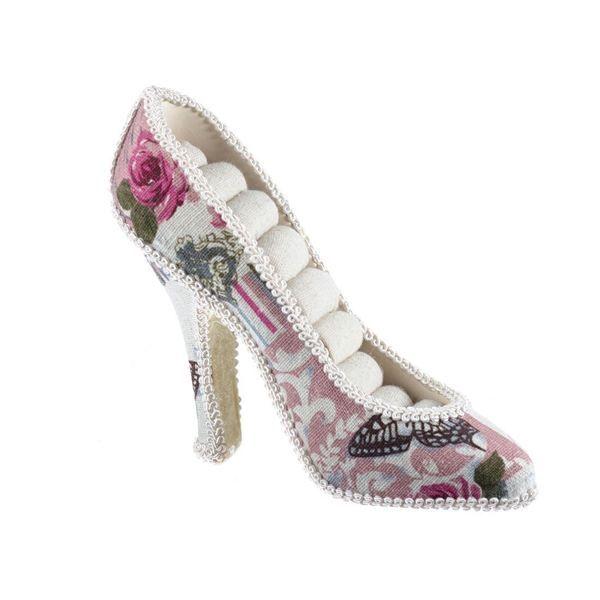 Suport bijuterii pentru inele, model pantof, fabricat din polirasina si material textil, dimensiuni 16.5 x 9.5 cm