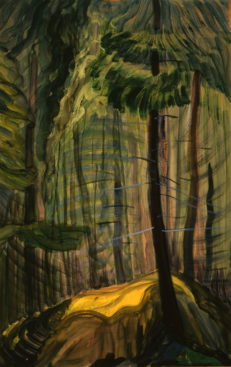 Emily Carr (Canadian, 1871-1945) Forest Glade   date unknown oil and gouache on paperboard