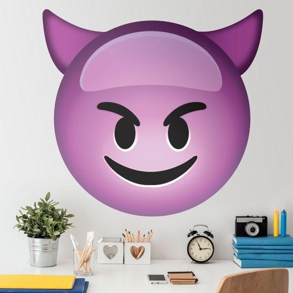 Adesivi Murali: Faccia di diavolo sorridente #vinili #emoji #emoticon #decorazione #muro #parete #faccias #StickersMurali