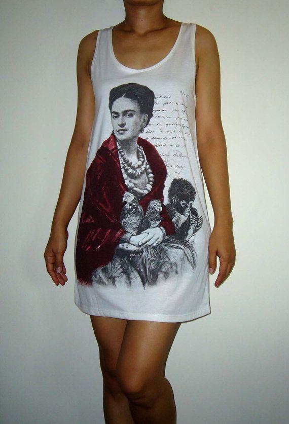 Frida Kahlo Mexican Artist Shirts Women Tank Top White Shirt Tunic Top Vest Sleeveless Woman T-Shirt Singlet Mini Dress Size S M. $19.99, via Etsy.