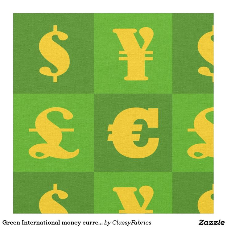 Green International money currencies signs pattern Fabric