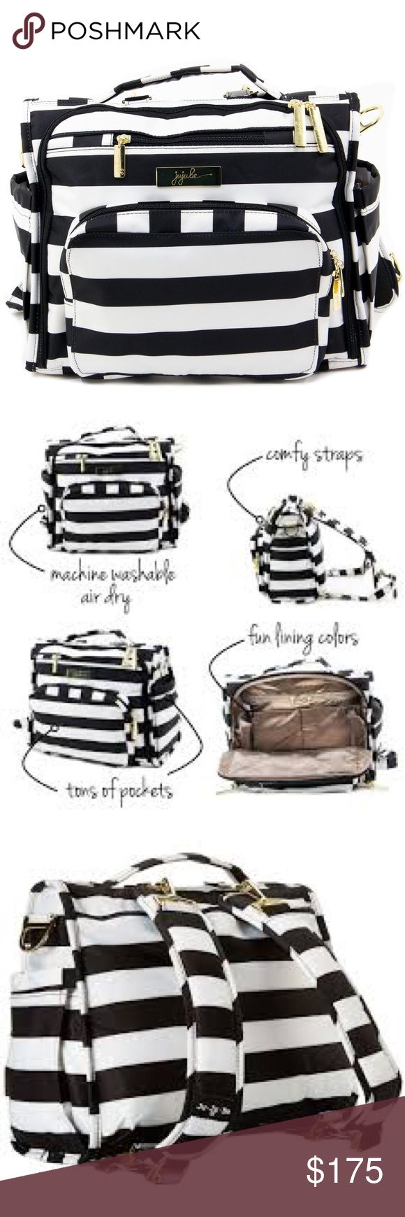 BNWT!!! Jujube BFF First Lady Brand new, never used Jujube messenger backpack (BFF) combo in black and white stripes (First Lady). You may not be First Lady but this bag will provide you with all of the accommodations you need to be a parent. Comfortable backpack straps easily adjust to fit your needs or use the messenger style for a sleek chic mommy look. Features multiple pockets, washable waterproof material and fashionable design. jujube Bags Baby Bags