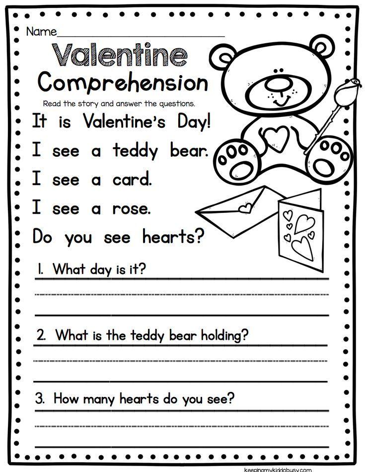 Valentine S Day Comprehension Worksheet Easy Reading Activity For Kindergarten Or Fi Reading Comprehension Worksheets Valentine Worksheets Reading Worksheets