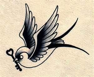 Traditional swallow tattoo. Would Dustin do similar mixed in a tattoo and me have heart? side