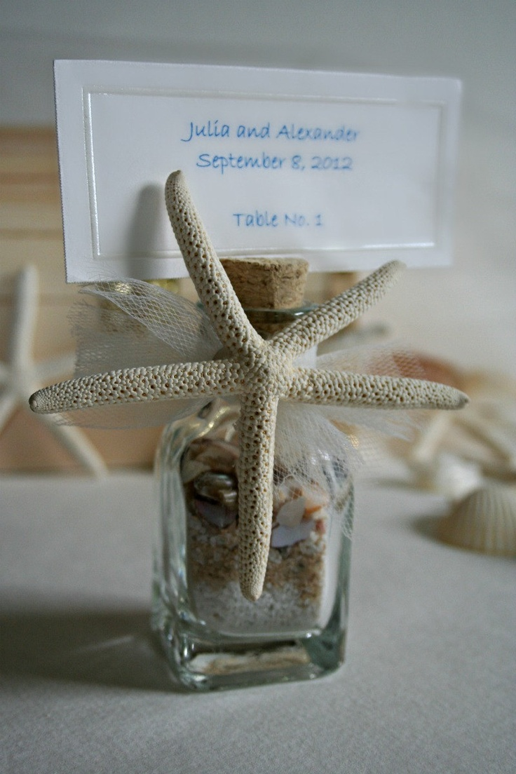 Starfish poem card - Items Similar To X 9 Wedding Favors Place Card Or Table Number Holder Beach In A Bottle Starfish Sea Shells Sand On Etsy