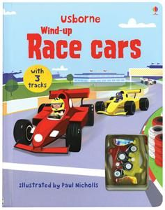 book with two wind up model racing cars to race against each other on the tracks embedded in the thick card pages with fun facts about racing cars