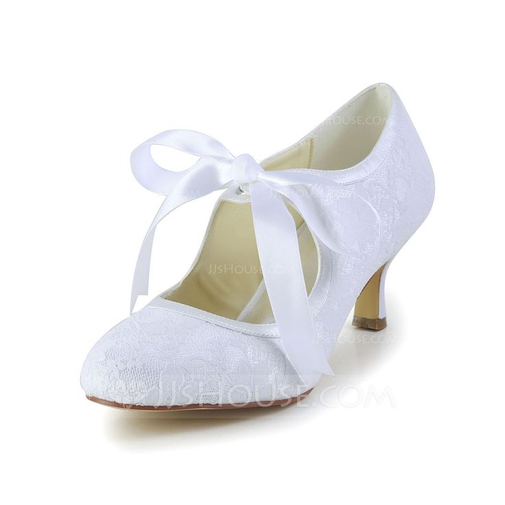 Women's Lace Satin Spool Heel Closed Toe Pumps With Ribbon Tie (047004932) - JJsHouse