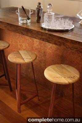 A unique standing bar using recycled timber & copper sourced from a salvaged table.