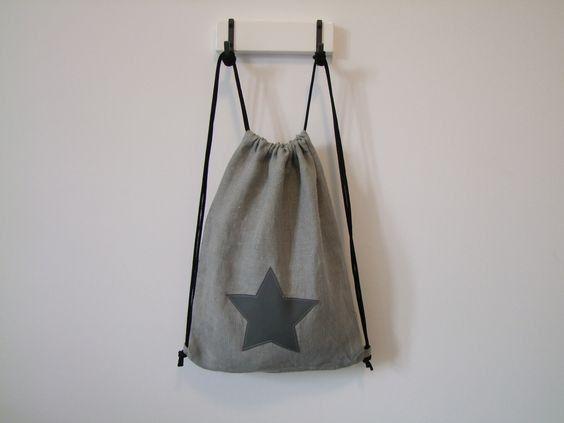 gray linen gymbag with gray star vegan leather pattern / szürke lenvászon tornazsák szürke textilbőr csillag mintával