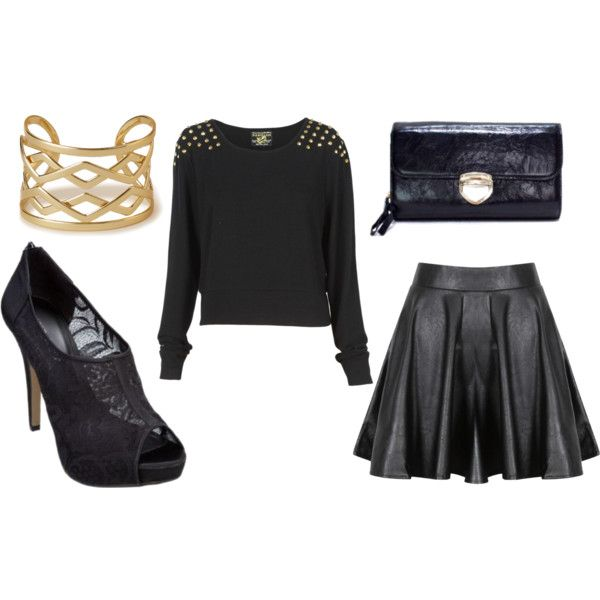 """""""Girly Grunge"""" by sugarsugar-aus on Polyvore - gold and black with leather, studs, lace and wool for the ultimate tough girly look"""