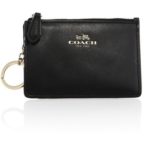 COACH Mini Skinny Leather ID Wallet Keychain ($51) ❤ liked on Polyvore featuring bags, wallets, apparel & accessories, black, mini leather wallet, genuine leather bags, genuine leather wallet, coach key ring and mini bags