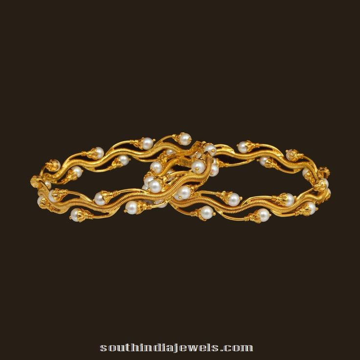 Designer gold pearl bangle from VBJ
