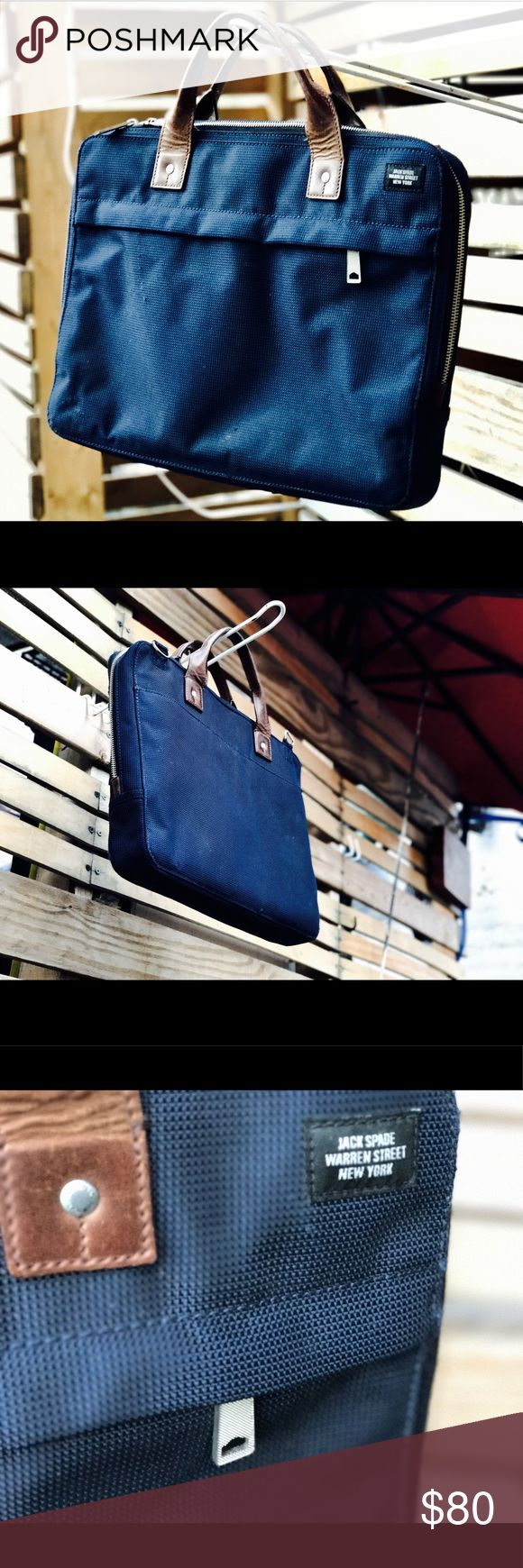 Jack spade men's briefcase Great deal on a $425 bag!!  Jack spade men's blue leather-trimmed nylon briefcase - used and don't have the strap but still a great looking bag that's got plenty of life left. Jack Spade Bags Briefcases