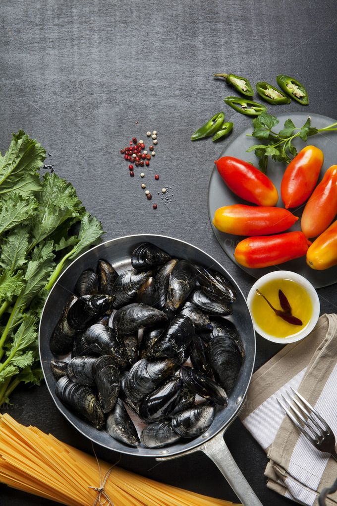mussels in a pan by IriGri on @creativemarket