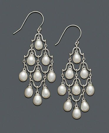 macy's pearl earrings - going to try and make this. Originally for sale for $300, now marked down to $149. What could we make them for, giving them a bit more pizzaz with colored freshwater pearls but the same silver wire structure?