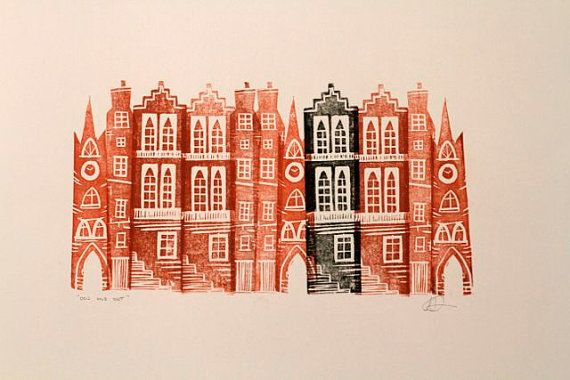 The Odd One Out, Original Linocut on Etsy, £28.00