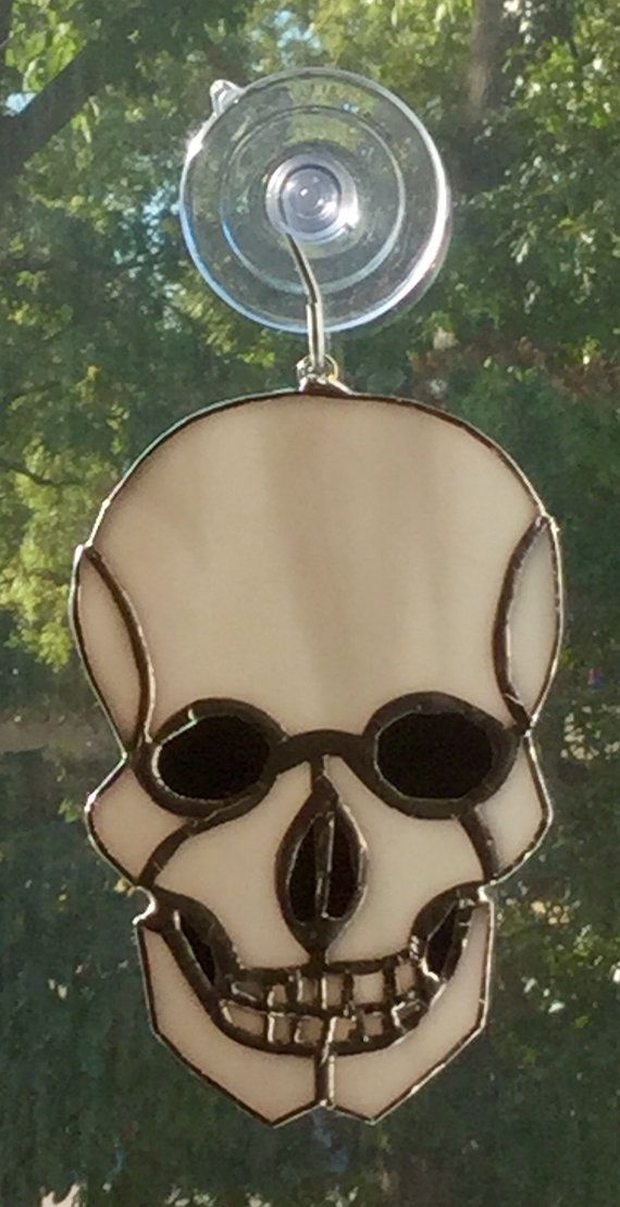 SUNCATCHER Stained Glass Skull and Crossbones