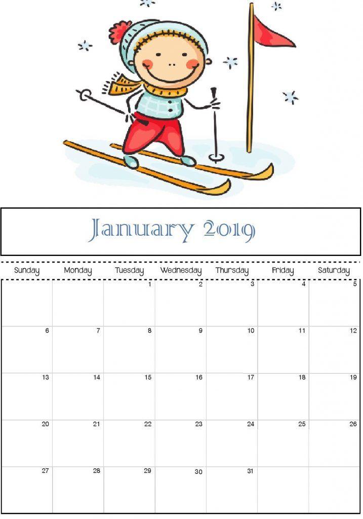 Children January 2019 Calendar January 2019 Calendar Cute for Kids #JanuaryCalendar