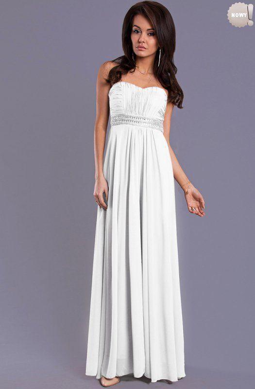 Elegancka, biała suknia bez ramiączek, z usztywnianymi miseczkami, z ozdobnym pasem pod biustem. #suknia #sukienka #elegancka #biała #długa  #kobieta #moda #trendy