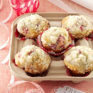 Lemon/Raspberry Streusel Muffins Recipe -Fresh from the oven, these attractive, delicious muffins make a great accompaniment to any breakfast or brunch. I usually double the recipe because they seem to disappear the minute I set them out. —Marie Herr, Berea, Ohio
