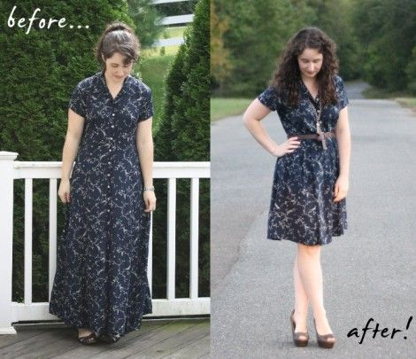 """""""My first reaction when I find a long dress at a thrift store is to quickly hem it. But I had this idea that if instead i cut the mid section out, then gathered the skirt at the waist, then I would end up with something kind of reminiscent of a 40′s house dress."""""""