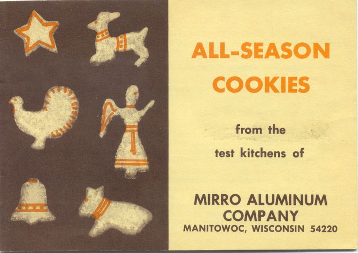 All-Season Cookies, Mirro Aluminum Company ... insert with Mirro Cookie cutters