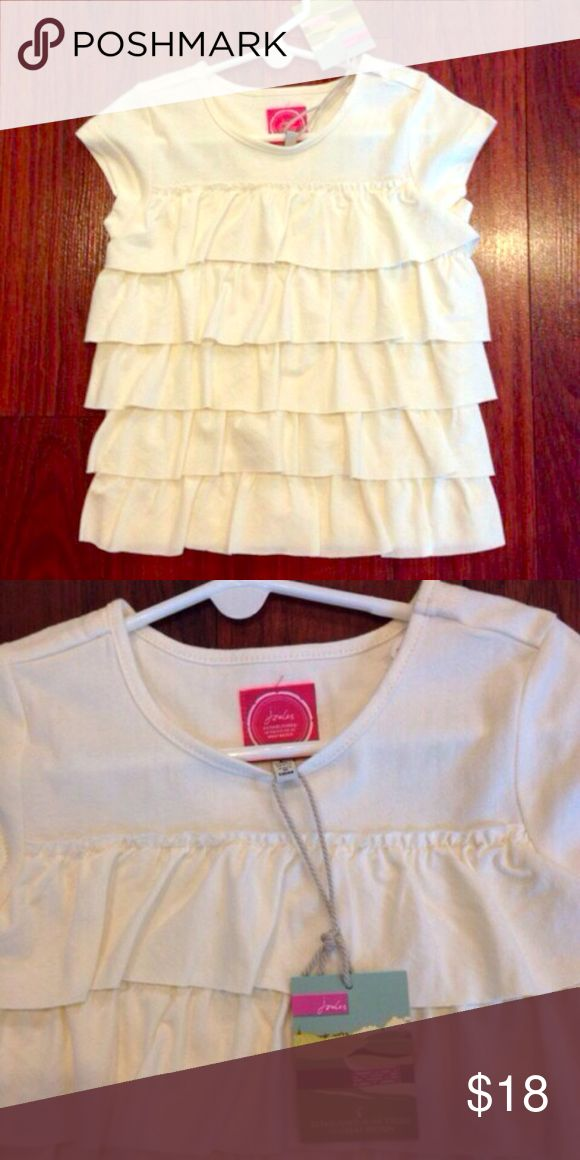 NWT girls 4T joules top Brand new, never worn cream colored ruffled short sleeve top by Joules. Paid $35 new. Gorgeous top! Joules Shirts & Tops Tees - Short Sleeve