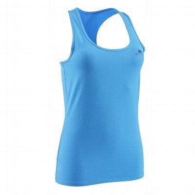 Canotte Fitness, Ginnastica, Danza - Canotta traspirante fitness donna MY TOP azzurra DOMYOS - Abbigliamento palestra BLUE