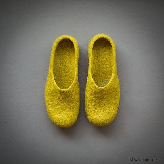 Women slippers Felted clogs Women house shoes Mustard by vart