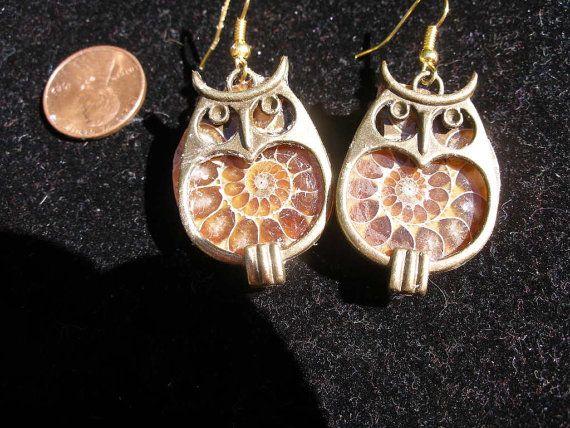 Earrings, ammonite fossils, bronze owl  frames  Harry Potter, Winnie the Pooh, Pogo   WWWG, paganteam, OlympiaEtsy, FunkyAlternativeJewelry on Etsy, $25.00