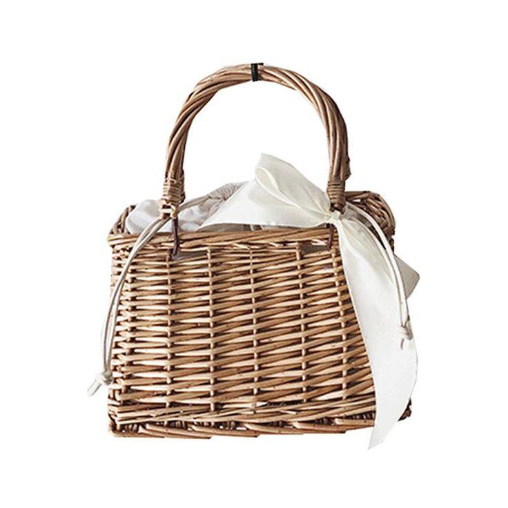 a3d18592af27 Women Bamboo Beach Bags Summer Female Straw Handbag Bohemian Vintage Rattan  Ribbon Holiday Bag Lady Handmade