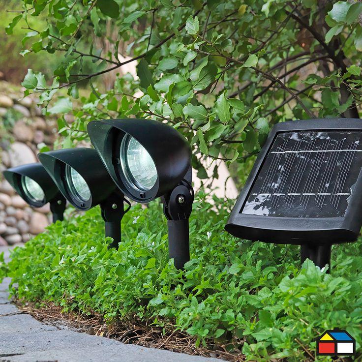 Kit #solar 3 focos panel separado #terraza #jardin
