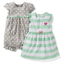 Carters Girls 2 Pack Grey Polka Dot Sleeveless Romper and Stripe Flutter Sleeve Dress with Diaper Cover