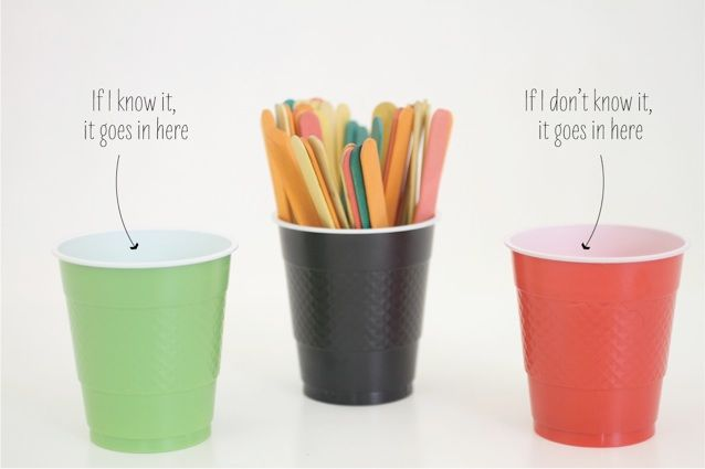 Pinteresting ideas for sight words — write the words onto paddle pop sticks and sort them into cups