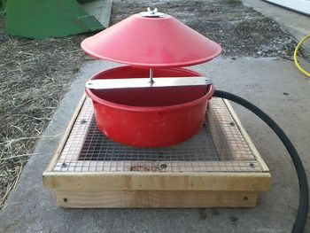 automatic chicken fountain with wire base