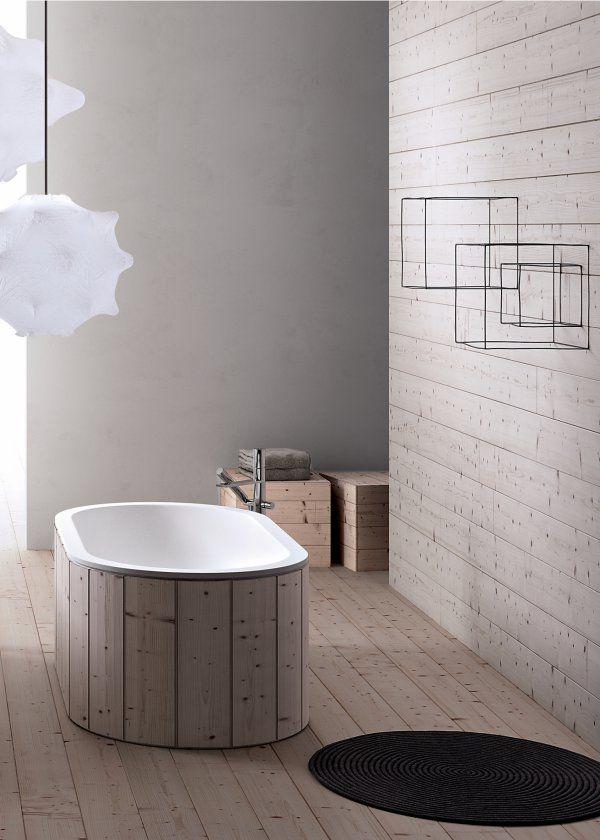 Une salle de bain design en bois. Version contemporaine des baquets en ...