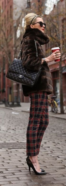 Plaid, fur and Chanel #holidays #streetstyle #fashion