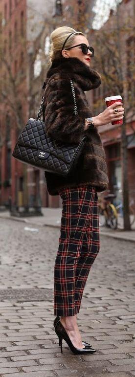Plaid, fur and Chanel