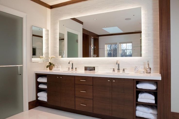 Bathroom: Modern Bathroom Vanity Lighting Is Beautiful Large Wooden Vanity With Elegant Backlit Mirror For Modern Bathroom Ideas With White Interior Color