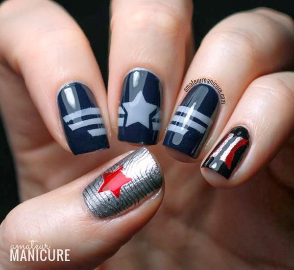 """Gorgeous """"Captain America: The Winter Solider"""" Nail Art"""