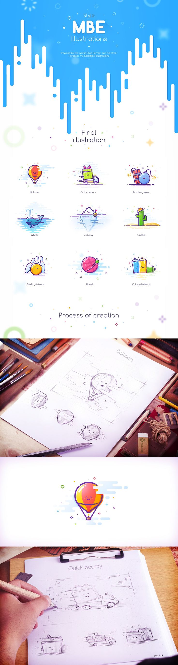 MBE Style Illustration process on Behance