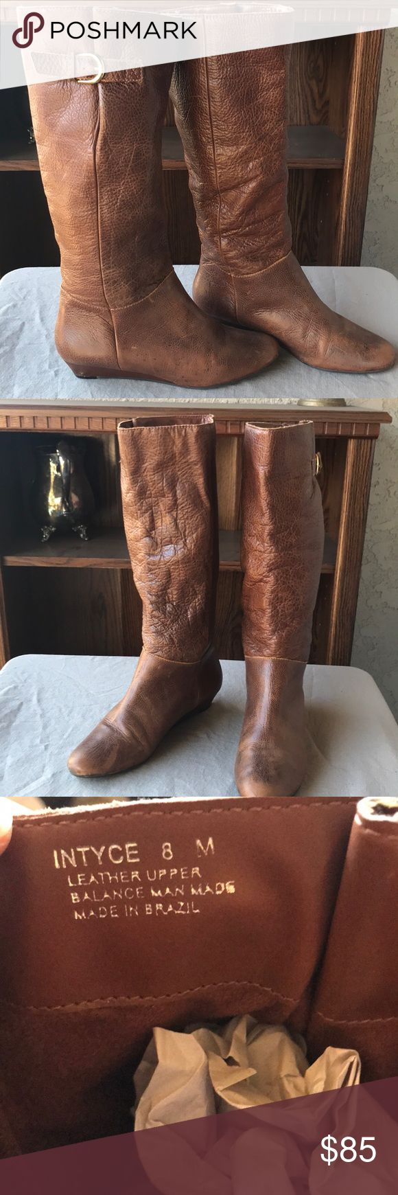 Steve Madden Intyce Boot Brand new without tags boots in beautiful cognac colored 100% leather. Condition at shown in pictures. Gorgeous shoe with gold buckle on side and pairs well with all colors and outfits! Steve Madden Shoes Winter & Rain Boots