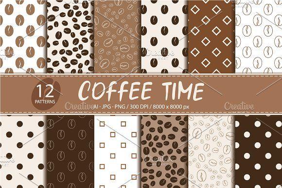 Coffee Set of 12 seamless patterns by Nadezda Gudeleva on @creativemarket