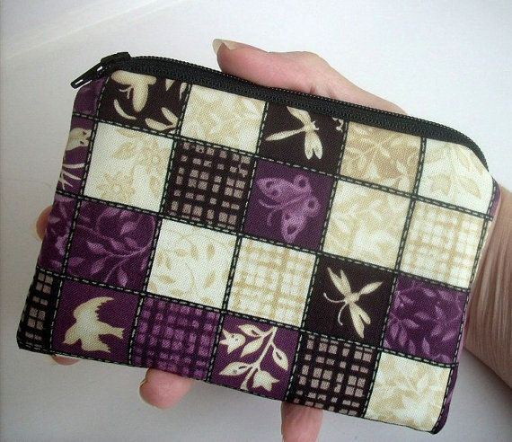 Plum Zipper Pouch Eco Friendly Padded Little Coin Purse by JPATPURSES, $8.00
